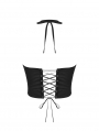 Black Sexy Gothic Summer Midriff-baring Halter Top for Women