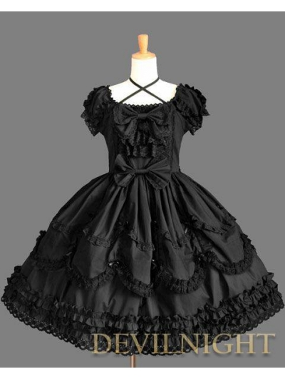 Black Short Sleeves Lace Bow Sweet Gothic Lolita Dress