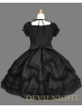 Black Short Sleeves Lace Bow Sweet Gothic Lolita Dress