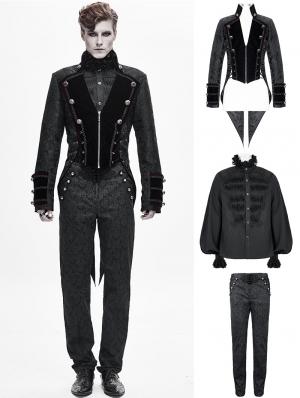 Black Vintage Gothic Victorian Tuxedo Party Suit for Men
