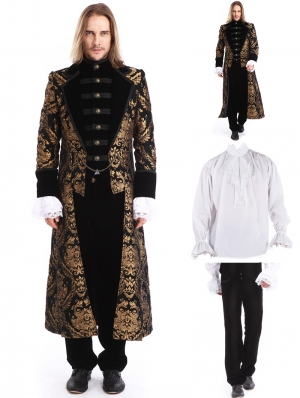 Gold Printing Pattern Gothic Swallow Tail Long Suit for Men