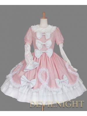 Pink and White Long Detachable Sleeves Sweet Lolita Dress