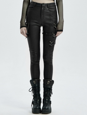 Black Gothic Punk PU Leather Long Pants for Women