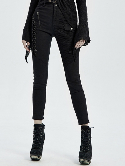 Black Gothic Punk Denim Long Trousers for Women