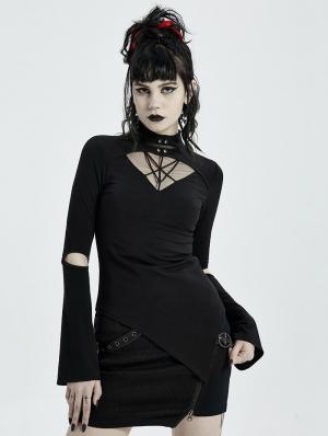 Black Gothic Punk Long Sleeve Asymmetric T-Shirt for Women