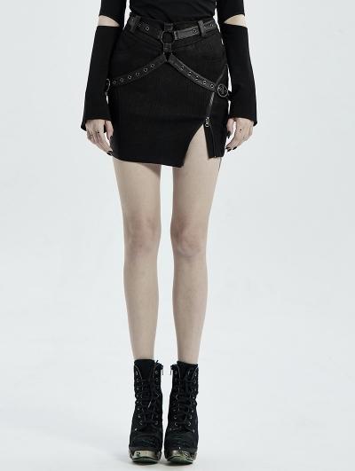 Black Gothic Punk PU Leather Irregular Mini Sexy Skirt for Women