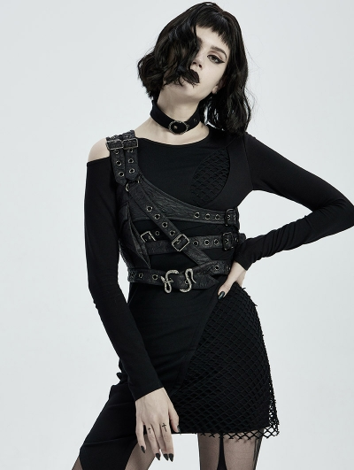 Black Gothic Punk Shoulder Embossed Armor Acessory for Women