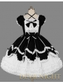 Black and White Short Sleeves Lace Bow Sweet Gothic Lolita Dress