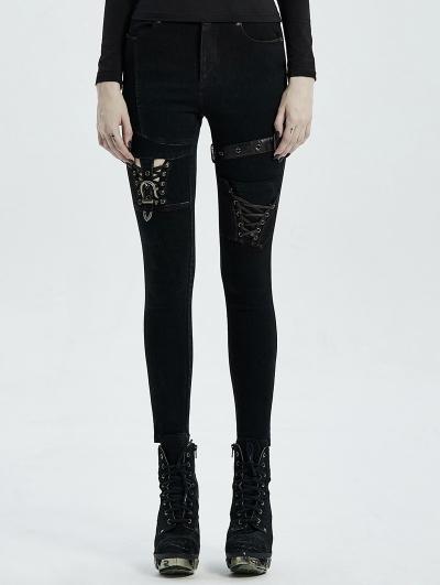 Black Gothic Punk Buckle Belt Denim Trousers for Women