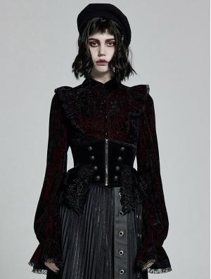 Black Gothic Velvet Gorgeous Retro Corset Waistband for Women