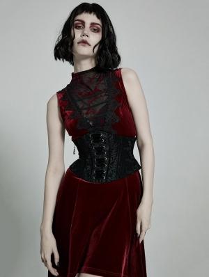 Black Gothic Rose Lace Velvet Corset Waistband for Women