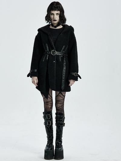Black Gothic Daily Wear Fleece Hooded Warm Winter Coat for Women
