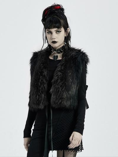 Black Gothic Fashion Winter Warm Faux Fur Waistcoat for Women