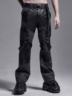 Gothic Punk Striped Loose Straight Pants for Men