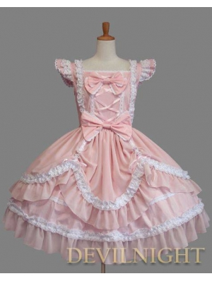 Pink and White Ruffled Cap Sleeves Sweet Bow Lolita Dress