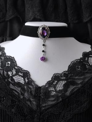 Purple Gothic Dark Rose Velvet Pendant Choker