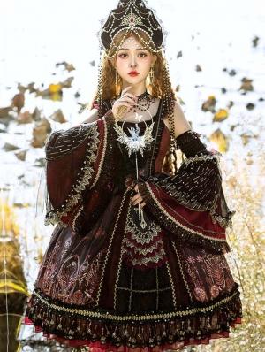 Dark Red Palace Style Tea Party Retro Gothic Lolita JSK Dress