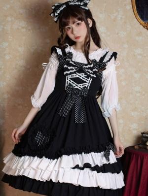 Brown Sugar Sweetheart Black and White Sweet Lolita JSK Dress