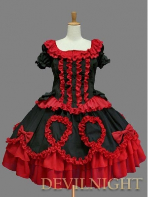 Red and Black Short Sleeves Ruffles Bow Gothic Lolita Dress