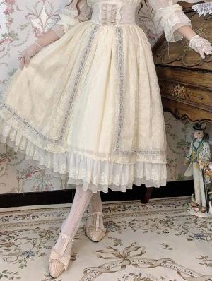 Sally Garden Beige Embroidery Fish Bone High Waist Sweet Lolita Skirt