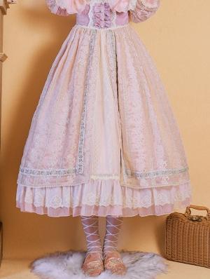 Sally Garden Pink Embroidery Fish Bone High Waist Sweet Lolita Skirt