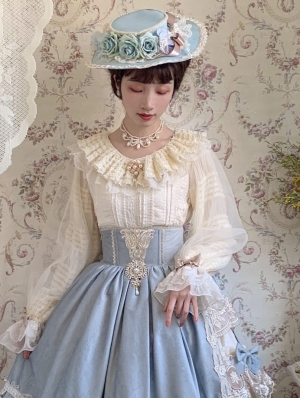Icing Sugar White Double Layer Long Sleeve Retro Classic Lolita blouse