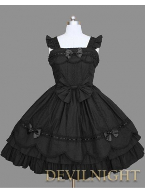 Black Cap Sleeves Sweet Gothic Lolita Dress