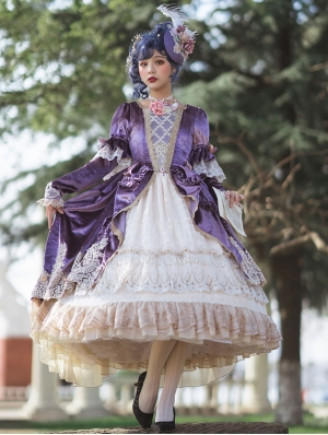 Rock and Roll Purple Velvet Long Sleeve Tea Party Classic Lolita OP Dress