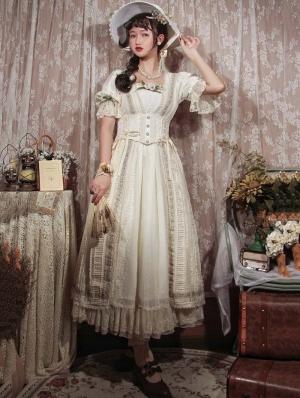 Sally Garden White Lotus Sleeve Empire Waist Classic Lolita OP Dress