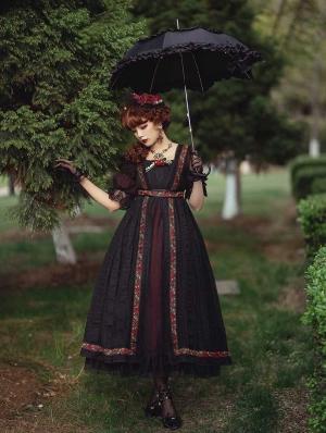 Sally Garden Black Lotus Sleeve Empire Waist Classic Lolita OP Dress