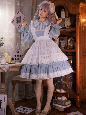 Alice's Thoughts Medieval Doll Cotton Sweet Lolita OP Dress