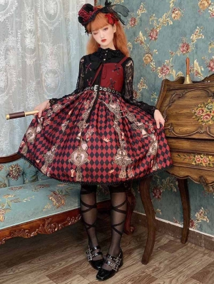 Neverland Red Queen Red and black Lace Up Gothic Lolita JSK dress