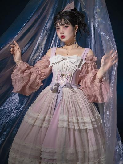 Neverland Midsummer Light Year Pink French Style Elegant Lolita JSK Dress with Detachable Overlay