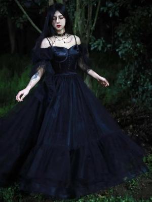 Neverland Light Night Poem Black French Elegant Wedding Lolita OP dress