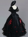 Neverland Fluttering Rose Black Gorgeous and Elegant Flower Wedding Lolita OP dress