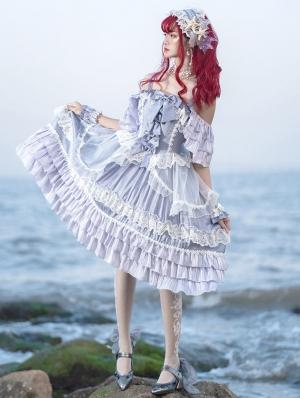 Neverland Sparkling Foam Sweet Lolita OP Dress with Detachable Sleeves