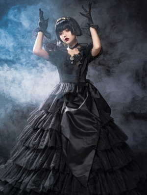 Neverland Layers and Dreams Short Sleeve Gothic Lolita OP Dress