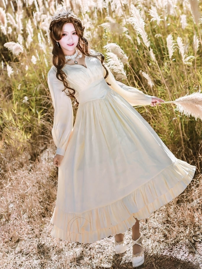 Neverland Miss Imperial Capital of Five Sisters White Long Sleeve Classic Lolita OP Dress