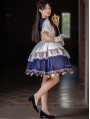 Lan Yue Navy Collar Star and Moon Embroidery Short Sleeve Daily Sweet Lolita OP Dress
