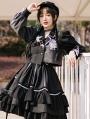BAD J Night Talk Asymmetrical Black Gothic Reflective Stripe Lolita Dress Suit