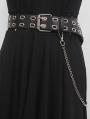 Black Gothic Punk PU Leather Doule Row Eyelet Chain Belt