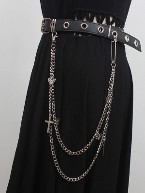 Black Gothic Punk Leather Buckle Belt with Chain