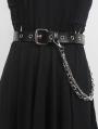 Black Gothic Punk Leather Metal Eyelet Chain Belt