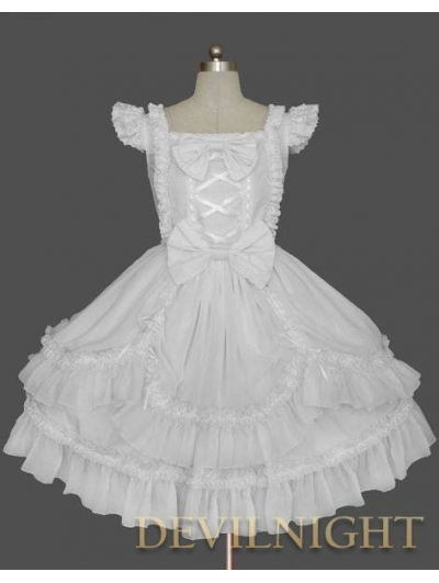 White Ruffled Cap Sleeves Sweet Bow Lolita Dress