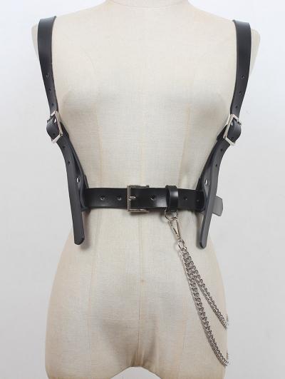 Black Gothic Punk Leather Buckle Belt Harness