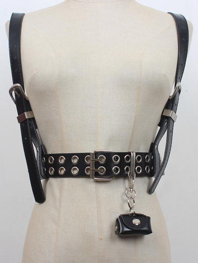 Black Gothic Punk PU Leather Double-Row Buckle Belt Harness with Detachable Bag