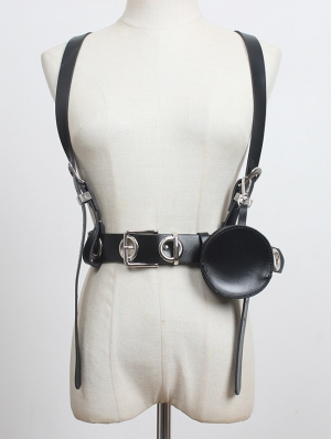 Black Gothic Punk Leather Buckle Belt Harness with Detachable Bag
