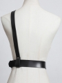 Black Gothic Punk Leather One Shoulder Metal Chain Belt Harness