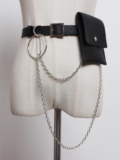 Black Gothic Punk PU Leather Hoop Belt with Detachable Bag