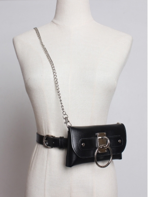 Black Gothic Punk PU Leather Belt with Chain and Bag